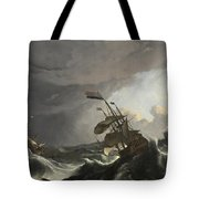 Warships In A Heavy Storm Tote Bag