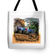Washing Line And Cows Indian Village Rajasthani 1b Tote Bag