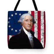 Washington And The American Flag Tote Bag