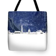 Washington Dc Skyline Map 4 Tote Bag