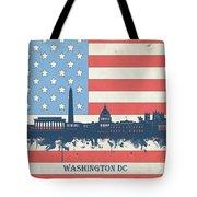 Washington Dc Skyline Usa Flag 3 Tote Bag