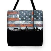 Washington Dc Skyline Usa Flag Tote Bag