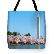 Washington Monument And Cherry Blossoms Tote Bag