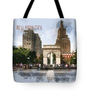 Washington Square Park Greenwich Village With Text New York City Tote Bag
