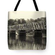 Washington's Crossing Bridge On A Rainy Day Tote Bag