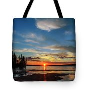 A Delightful Summer Sunset On Lake Waskesiu In Canada Tote Bag