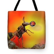 Wasp Blowing Bubble 160605d Tote Bag