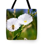 Wasp On A White Flower Tote Bag