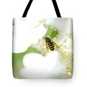 Wasp On Hydrangea Tote Bag