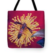 Wasp On Indian Hawthorn Tote Bag