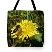 Wasp Visiting Dandelion Tote Bag