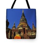 Wat Yai Chai Mongkol In Ayutthaya, Thailand Tote Bag