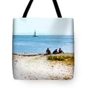 Watching The Boats Pass By Tote Bag