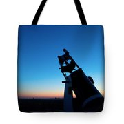 Watchnig The Sky, Astronomy Telescope Against Evening Sky And Moon Tote Bag