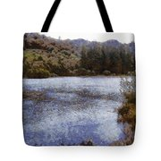 Water Body Surrounded By Greenery Tote Bag