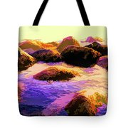 Water Color Like Rocks In Ocean At Sunset Tote Bag