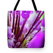 Water Droplets And Purple Flower Tote Bag