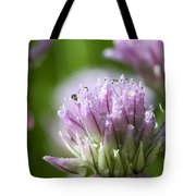 Water Droplets On Chives Flowers Tote Bag