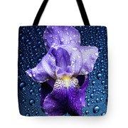 Water Drops On Purple Iris Tote Bag