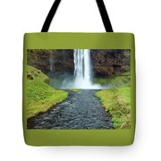 Water Falling In Iceland Tote Bag