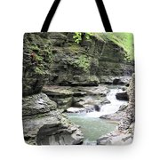 Water Flowing Through The Gorge Tote Bag