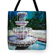 Water Fountain Acrylic Painting Art Print Tote Bag
