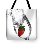 Water Glass Strawberry Tote Bag