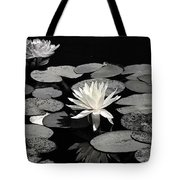 Water Lilies In Black And White Tote Bag