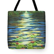 Water Lillies At Dusk Tote Bag