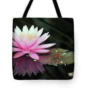 water lily 92 Sunny Pink Water Lily with Lily Pad Tote Bag
