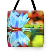 Water Lily And Bee Pastel Tote Bag