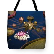 Water Lily And Platters Tote Bag