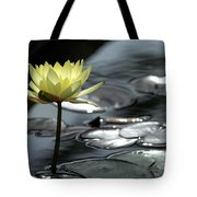 Water Lily And Silver Leaves Tote Bag
