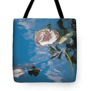 Water Lily Leaves And Reflection Of Clouds In Unknown Lake Tote Bag