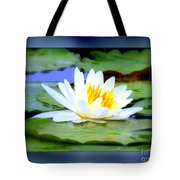 Water Lily With Blue Border - Digital Painting Tote Bag