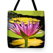 Water Lily With Dragonfly Tote Bag