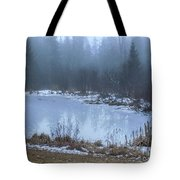 Water On Ice In Fog Tote Bag