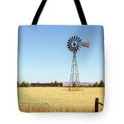 Water Pump Windmill At Wheat Farm In Rural Oregon Tote Bag