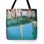 Water Reflections Of Morro Bay  Dock Tote Bag