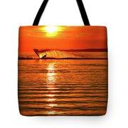 Water Skiing At Sunrise  Tote Bag
