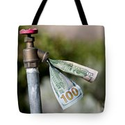 Water Spigot With Money Flowing Out Tote Bag
