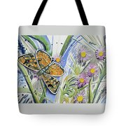 Watercolor - Checkerspot Butterfly With Wildflowers Tote Bag by Cascade Colors