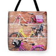 Watercolor Collage Of Three Bicycles In Triptych Tote Bag