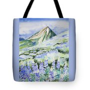 Watercolor - Crested Butte Lupine Landscape Tote Bag by Cascade Colors