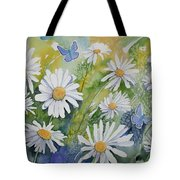 Watercolor - Daisies And Common Blue Butterflies Tote Bag
