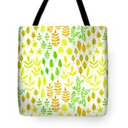 Watercolor Doodle Leaves Pattern White  Tote Bag