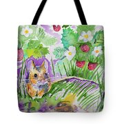 Watercolor - Field Mouse With Wild Strawberries Tote Bag