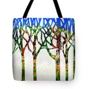 Watercolor Forest Silhouette Summer Tote Bag