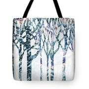 Watercolor Forest Silhouette Winter Tote Bag