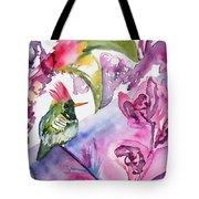 Watercolor - Frilled Coquette Hummingbird With Colorful Background Tote Bag